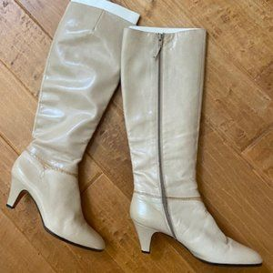 Vintage White Leather with Snake Skin Trim Boots